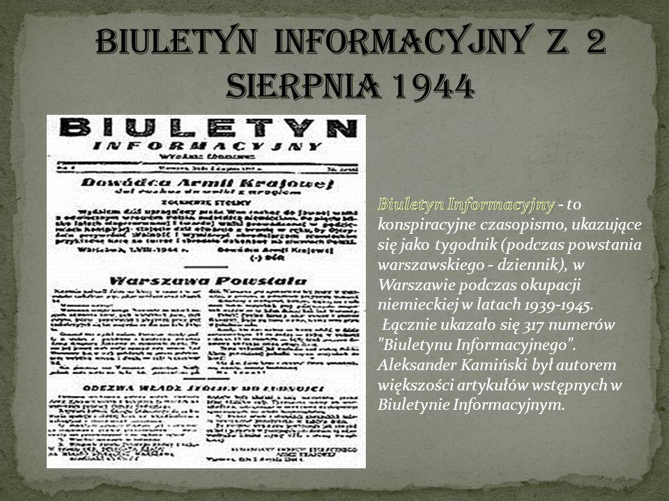 BIULETYN INFORMACYJNY Z 2 SIERPNIA 1944