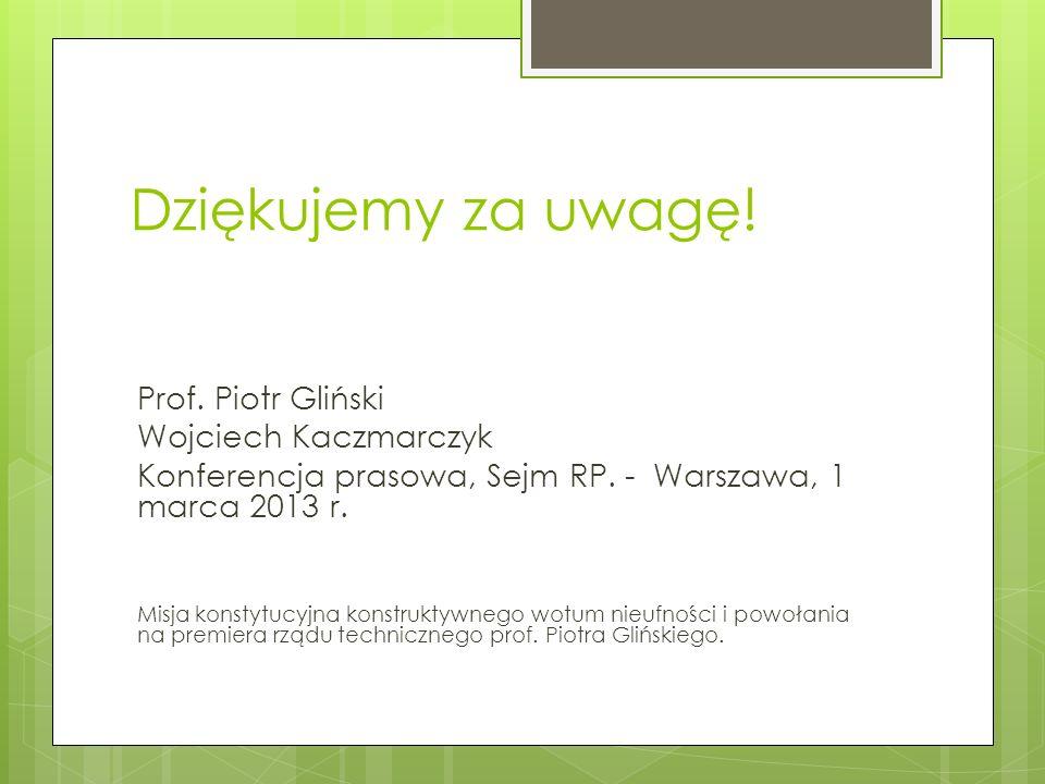 Dziękujemy za uwagę! Prof. Piotr Gliński Wojciech Kaczmarczyk