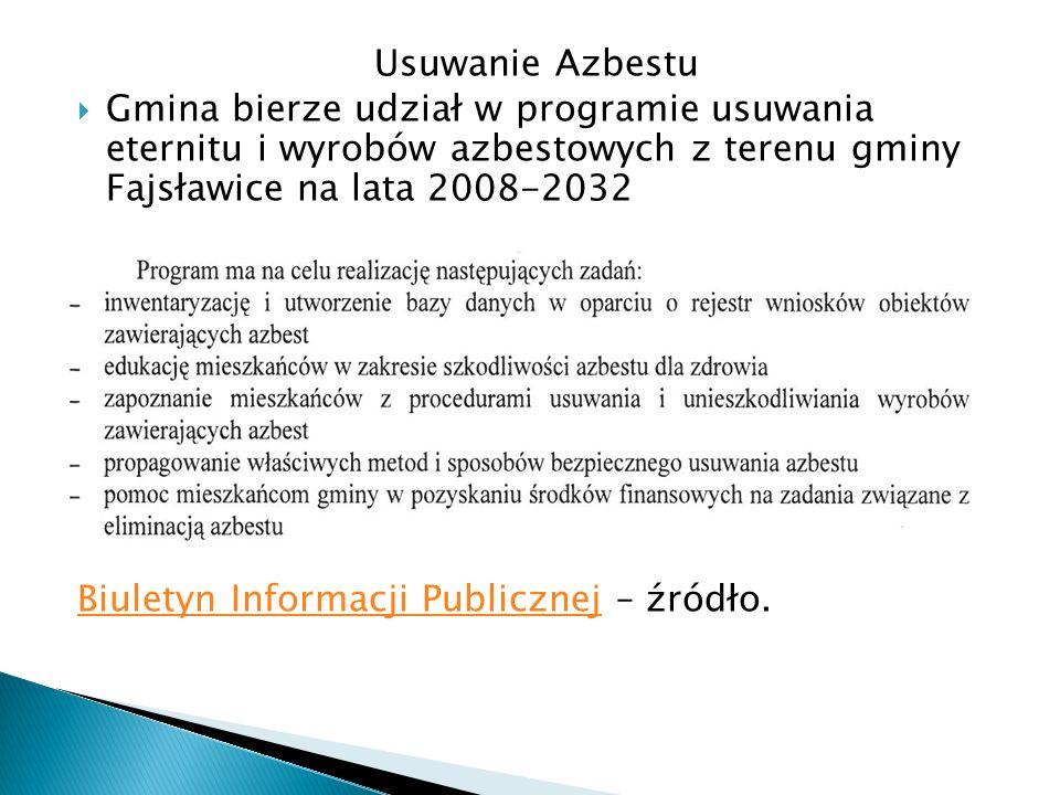 Usuwanie AzbestuGmina bierze udział w programie usuwania eternitu i wyrobów azbestowych z terenu gminy Fajsławice na lata 2008-2032.