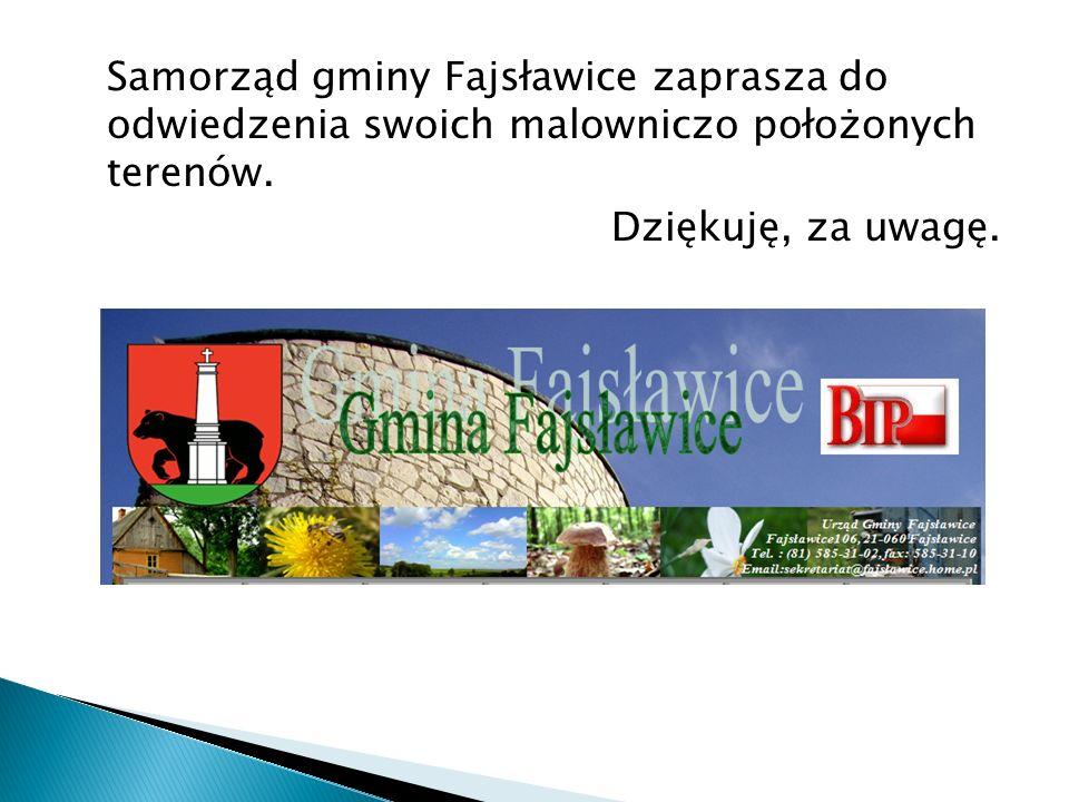 Samorząd gminy Fajsławice zaprasza do odwiedzenia swoich malowniczo położonych terenów.