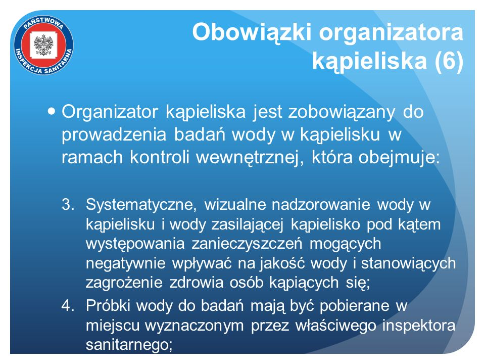 Obowiązki organizatora kąpieliska (6)