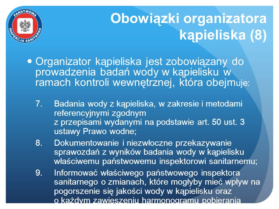 Obowiązki organizatora kąpieliska (8)