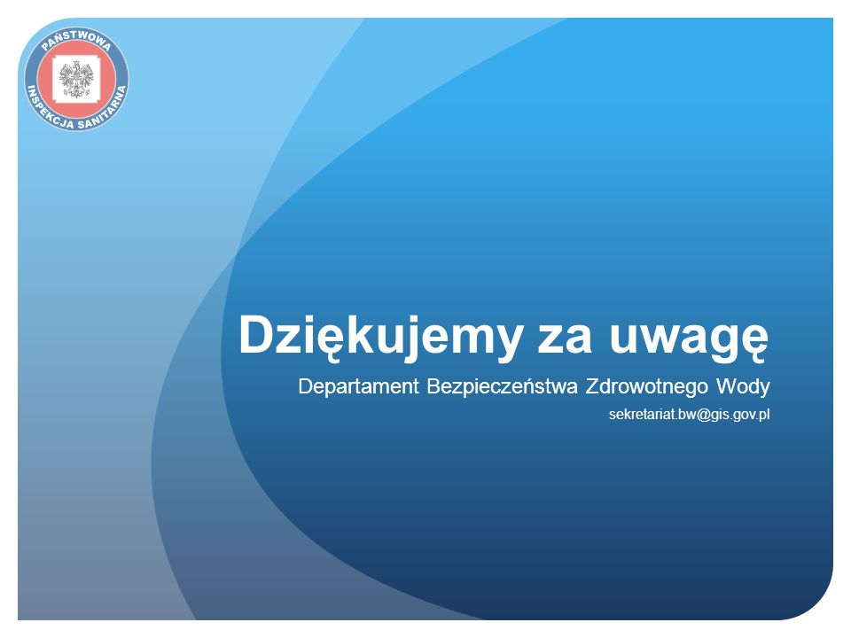 Departament Bezpieczeństwa Zdrowotnego Wody sekretariat.bw@gis.gov.pl