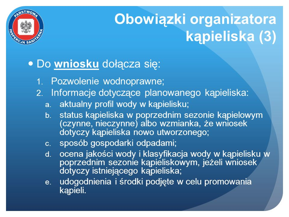 Obowiązki organizatora kąpieliska (3)