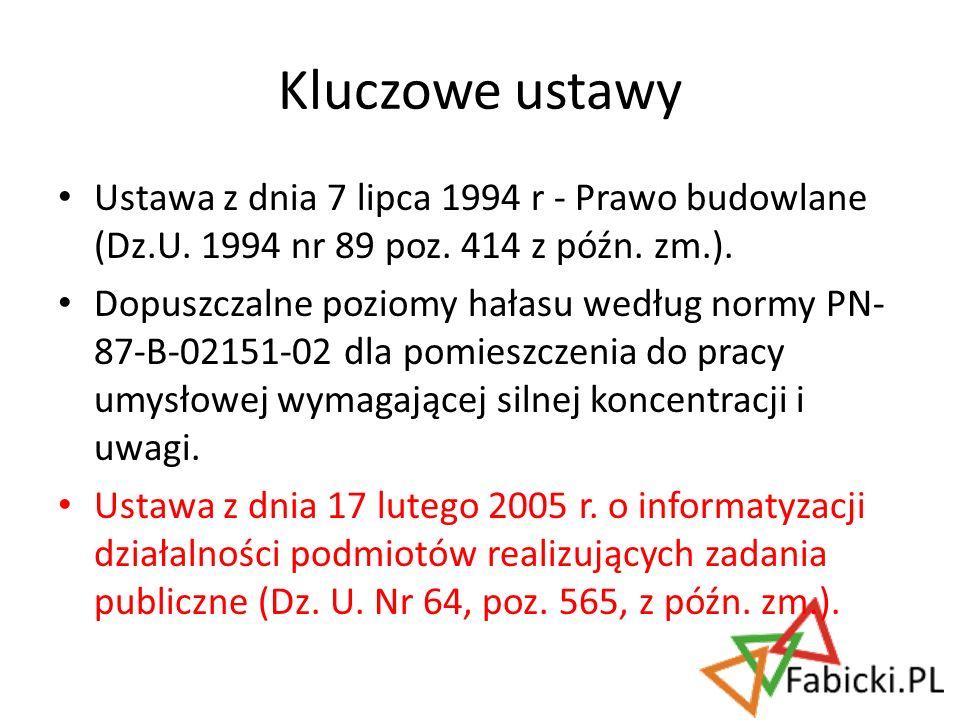 Kluczowe ustawy Ustawa z dnia 7 lipca 1994 r - Prawo budowlane (Dz.U. 1994 nr 89 poz. 414 z późn. zm.).