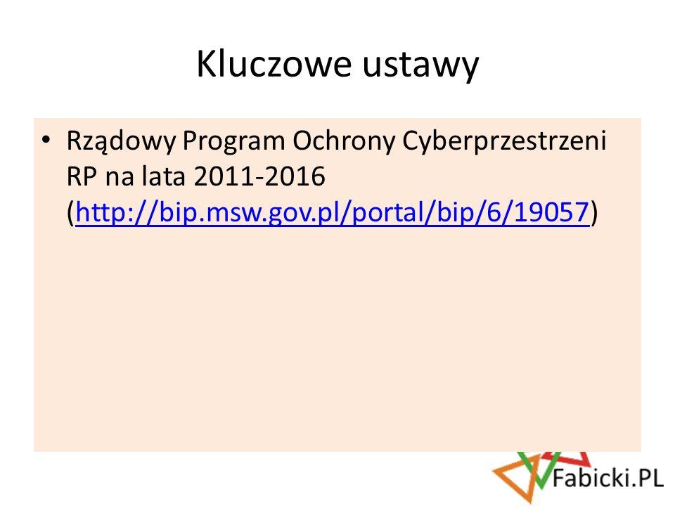 Kluczowe ustawy Rządowy Program Ochrony Cyberprzestrzeni RP na lata 2011-2016 (http://bip.msw.gov.pl/portal/bip/6/19057)