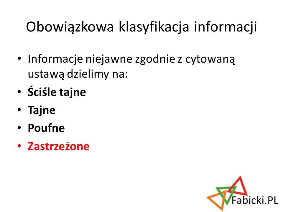 Obowiązkowa klasyfikacja informacji
