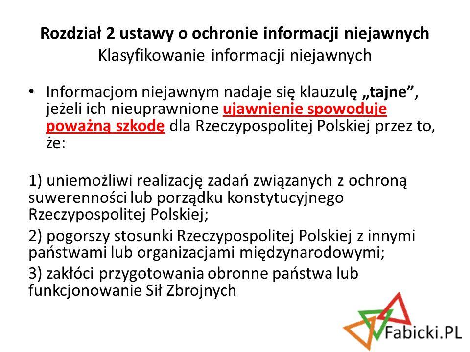 Rozdział 2 ustawy o ochronie informacji niejawnych Klasyfikowanie informacji niejawnych