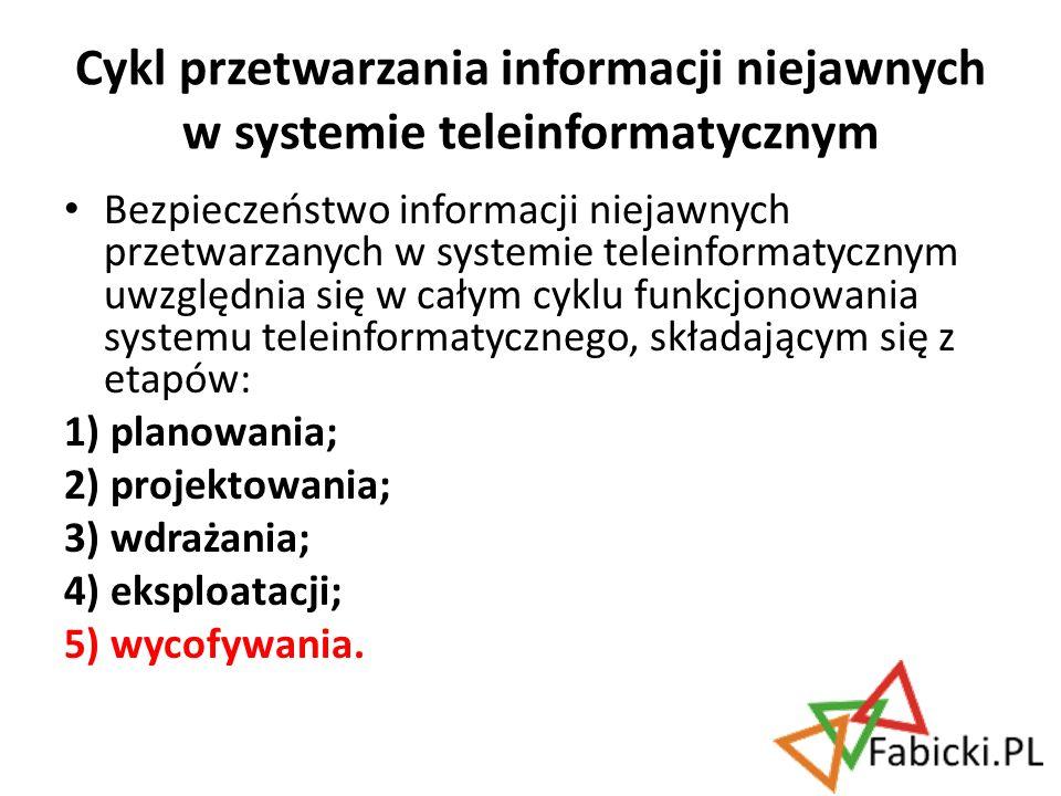 Cykl przetwarzania informacji niejawnych w systemie teleinformatycznym
