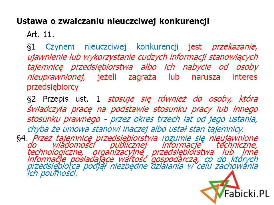 Art. 11. Ustawa o zwalczaniu nieuczciwej konkurencji