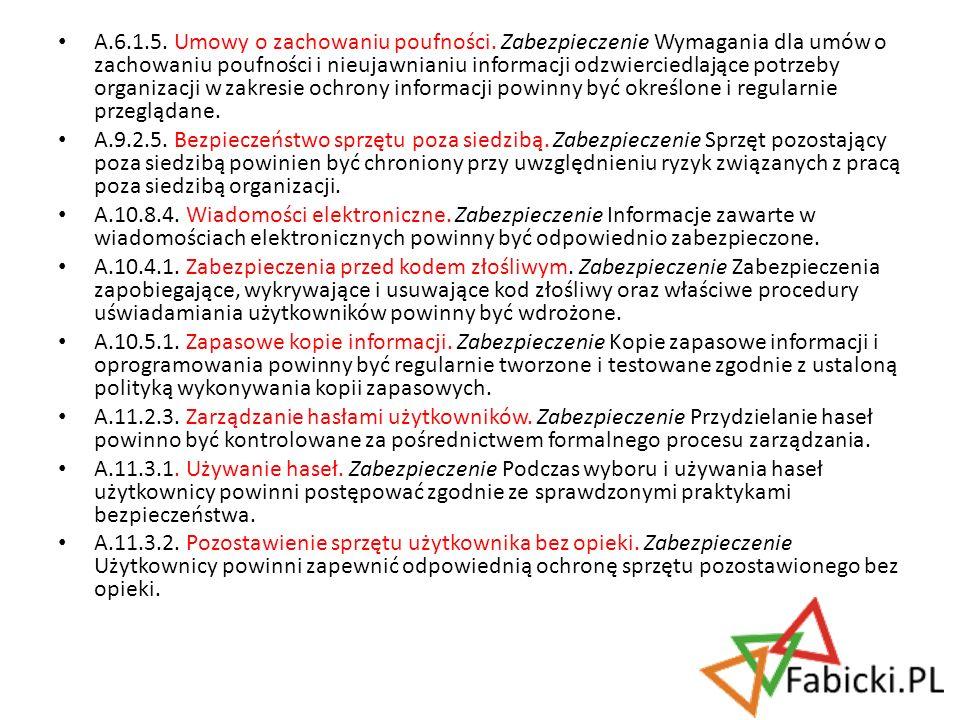 A. 6. 1. 5. Umowy o zachowaniu poufności