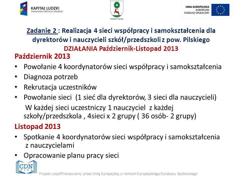 Zadanie 2 : Realizacja 4 sieci współpracy i samokształcenia dla dyrektorów i nauczycieli szkół/przedszkoli z pow. Pilskiego DZIAŁANIA Październik-Listopad 2013