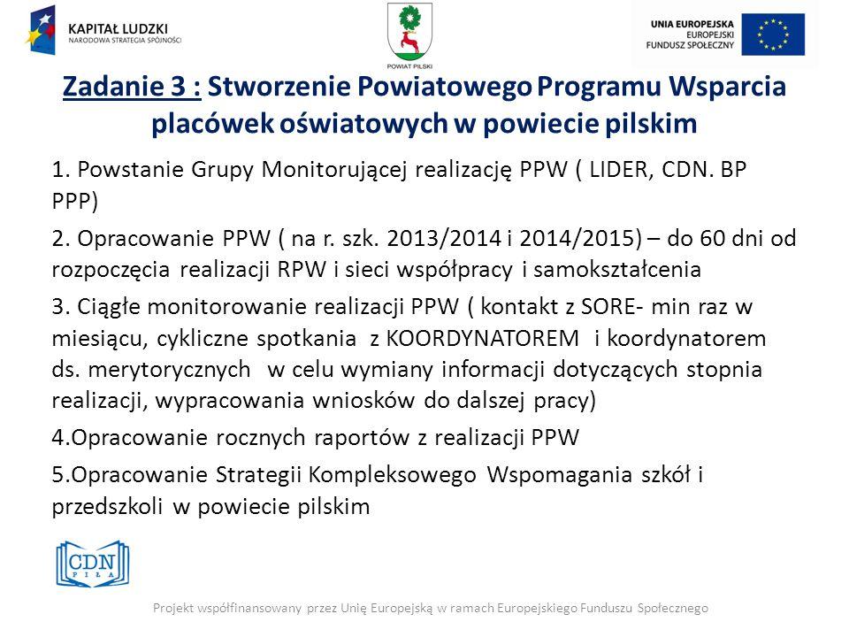 Zadanie 3 : Stworzenie Powiatowego Programu Wsparcia placówek oświatowych w powiecie pilskim