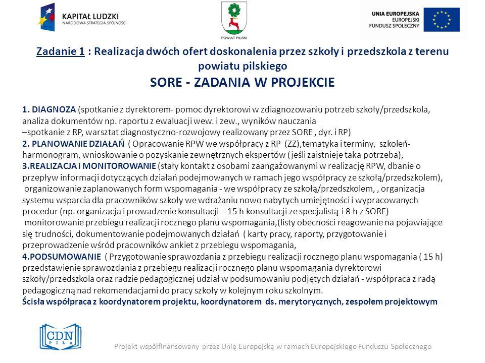 Zadanie 1 : Realizacja dwóch ofert doskonalenia przez szkoły i przedszkola z terenu powiatu pilskiego SORE - ZADANIA W PROJEKCIE