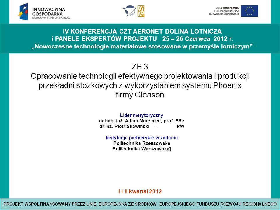 ZB 3 Opracowanie technologii efektywnego projektowania i produkcji przekładni stożkowych z wykorzystaniem systemu Phoenix firmy Gleason