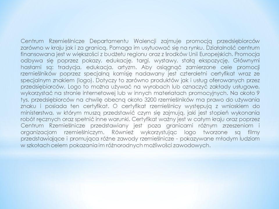 Centrum Rzemieślnicze Departamentu Walencji zajmuje promocją przedsiębiorców zarówno w kraju jak i za granicą.