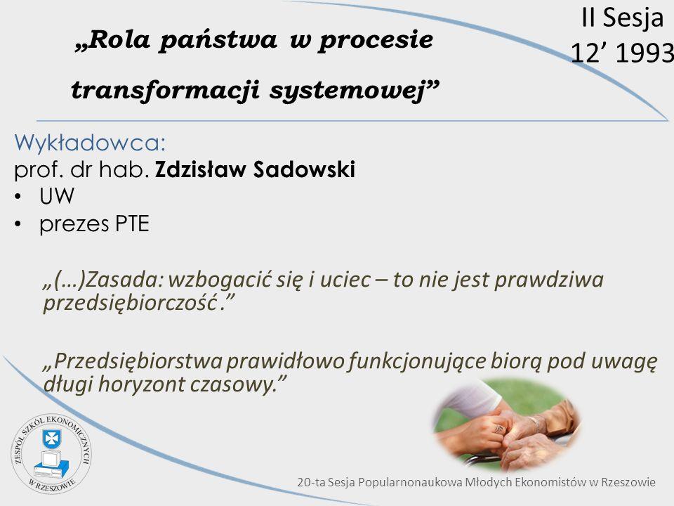 """""""Rola państwa w procesie transformacji systemowej"""