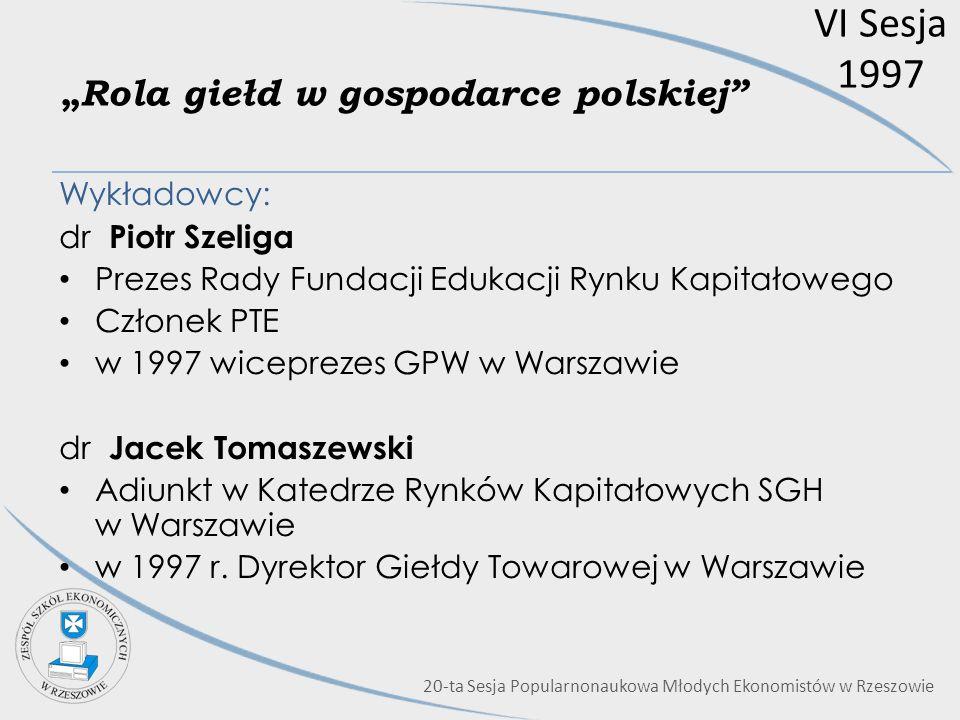 """""""Rola giełd w gospodarce polskiej"""