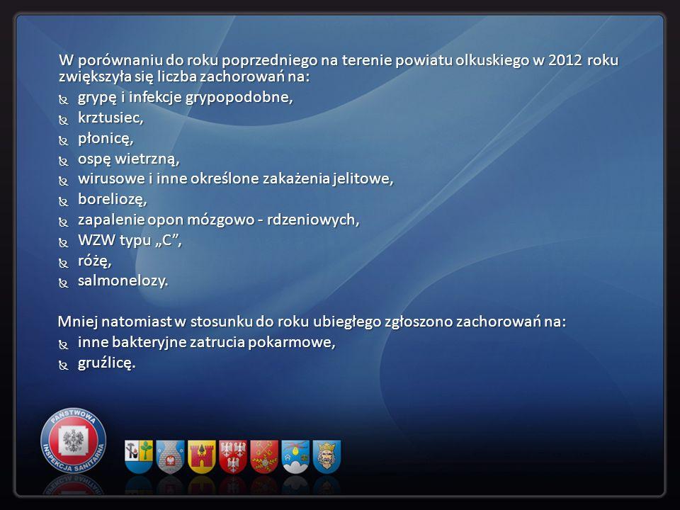 W porównaniu do roku poprzedniego na terenie powiatu olkuskiego w 2012 roku zwiększyła się liczba zachorowań na: