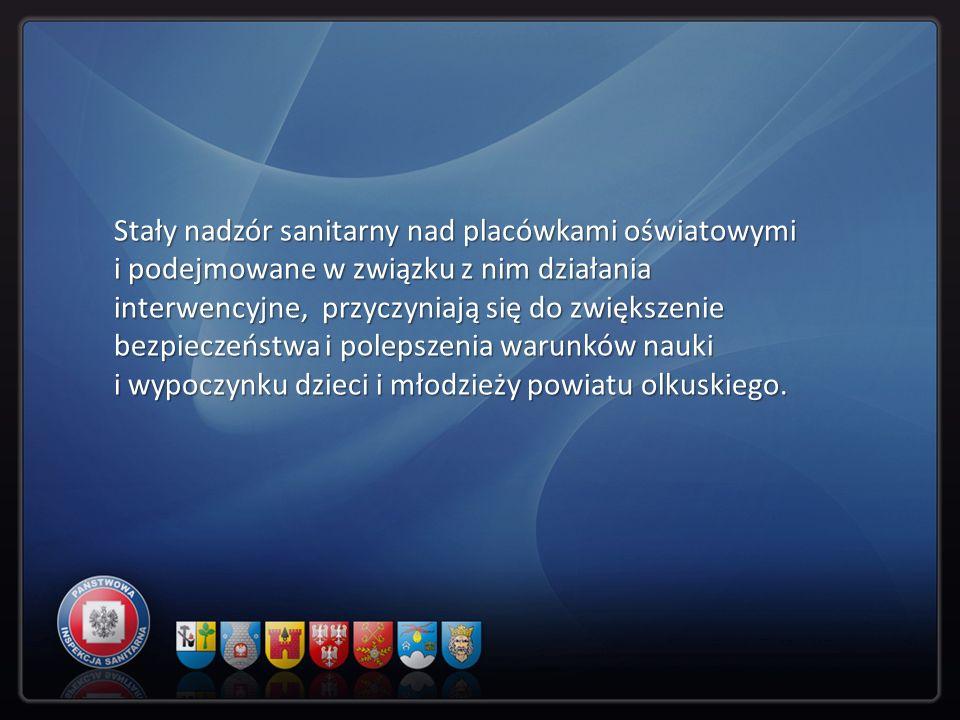 Stały nadzór sanitarny nad placówkami oświatowymi i podejmowane w związku z nim działania interwencyjne, przyczyniają się do zwiększenie bezpieczeństwa i polepszenia warunków nauki i wypoczynku dzieci i młodzieży powiatu olkuskiego.