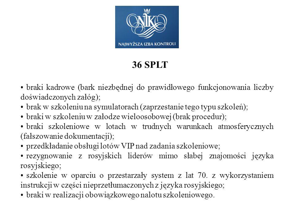 36 SPLT braki kadrowe (bark niezbędnej do prawidłowego funkcjonowania liczby doświadczonych załóg);