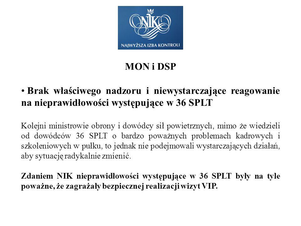 MON i DSP Brak właściwego nadzoru i niewystarczające reagowanie na nieprawidłowości występujące w 36 SPLT.