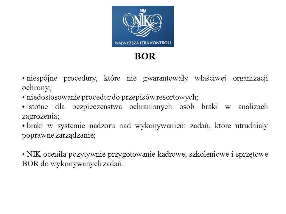 BOR niespójne procedury, które nie gwarantowały właściwej organizacji ochrony; niedostosowanie procedur do przepisów resortowych;