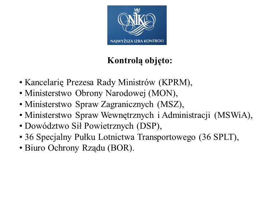 Kontrolą objęto: Kancelarię Prezesa Rady Ministrów (KPRM), Ministerstwo Obrony Narodowej (MON), Ministerstwo Spraw Zagranicznych (MSZ),