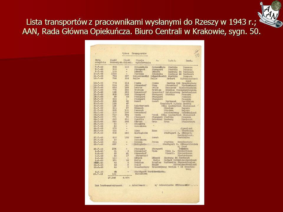 Lista transportów z pracownikami wysłanymi do Rzeszy w 1943 r