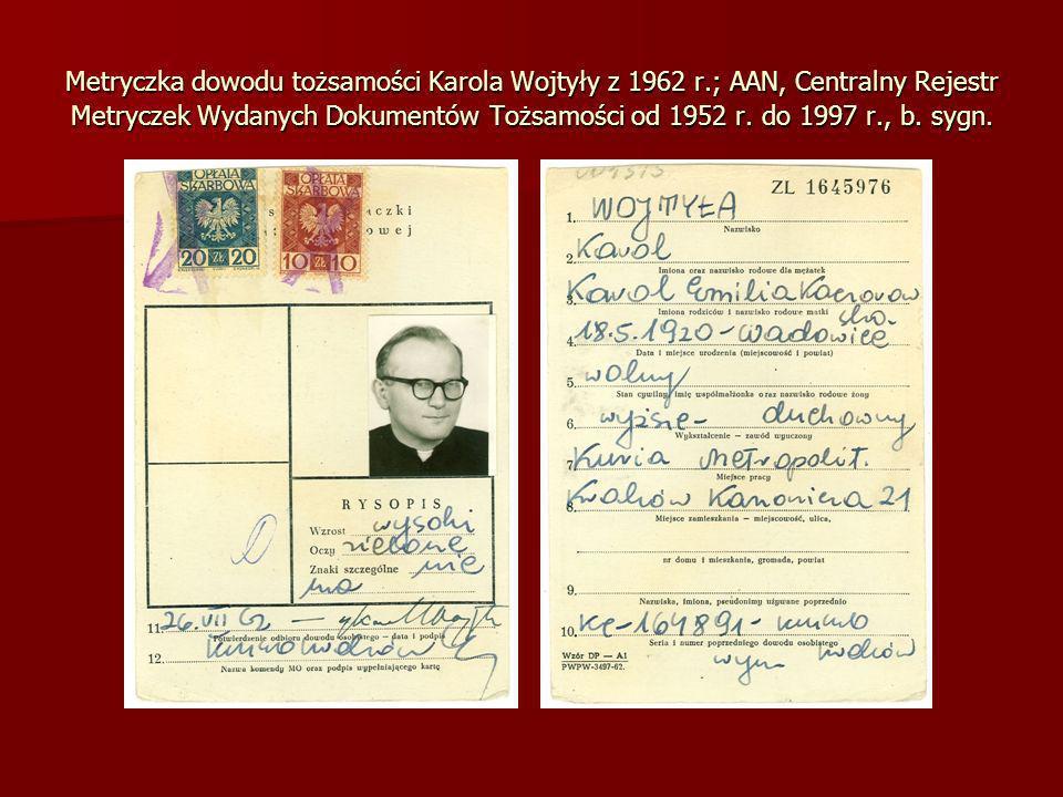 Metryczka dowodu tożsamości Karola Wojtyły z 1962 r