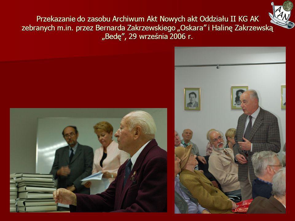 Przekazanie do zasobu Archiwum Akt Nowych akt Oddziału II KG AK zebranych m.in.