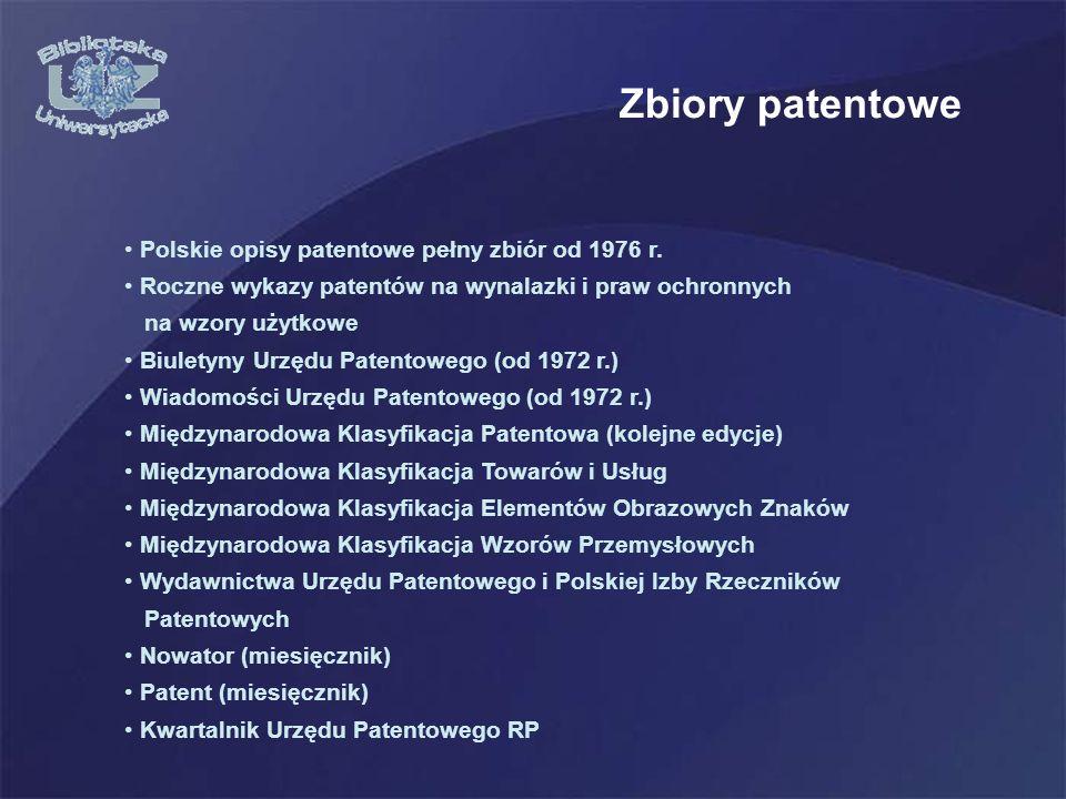 Zbiory patentowe Polskie opisy patentowe pełny zbiór od 1976 r.
