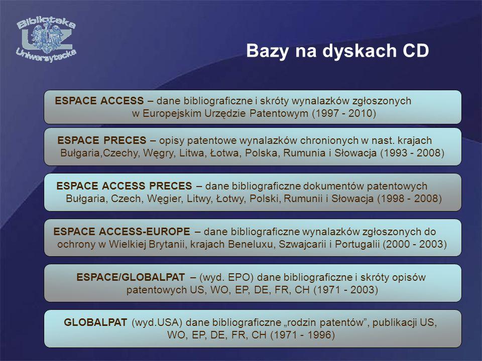 Bazy na dyskach CD ESPACE ACCESS – dane bibliograficzne i skróty wynalazków zgłoszonych. w Europejskim Urzędzie Patentowym (1997 - 2010)
