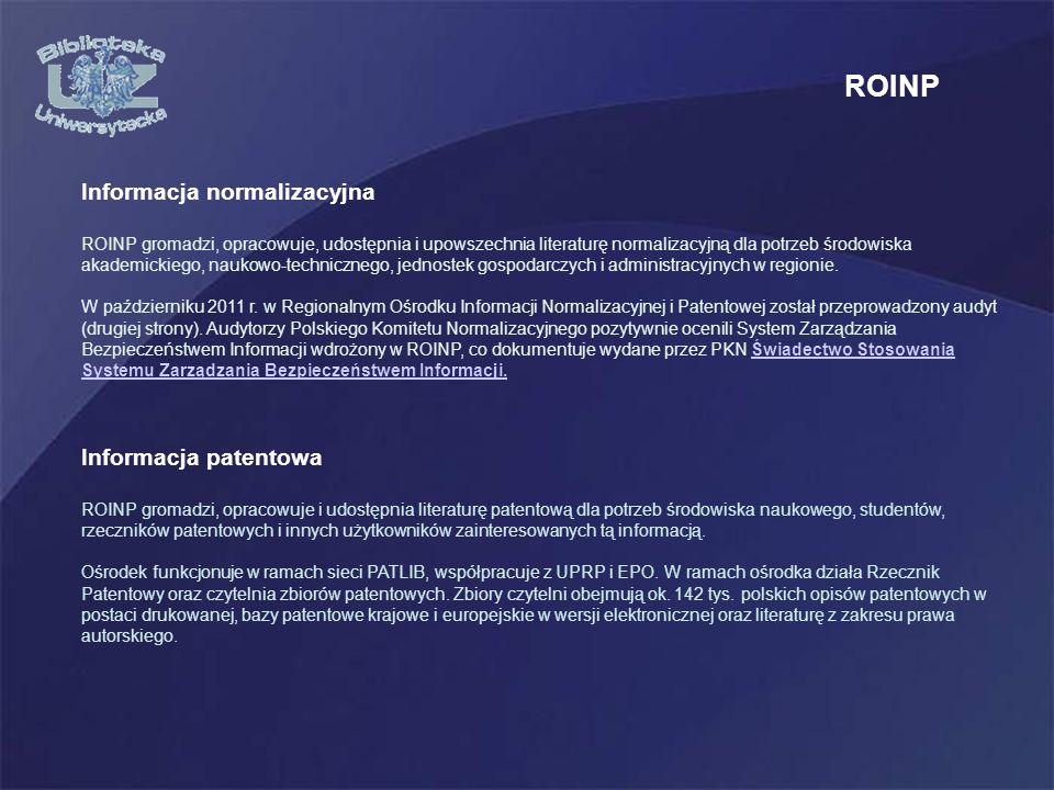 ROINP Informacja normalizacyjna Informacja patentowa