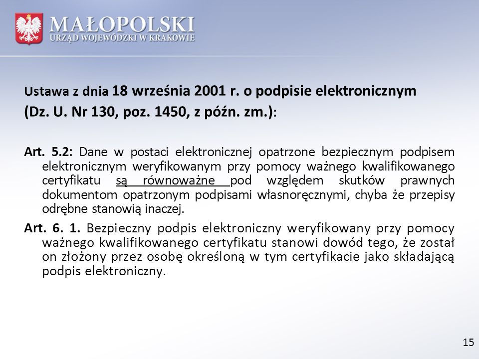 Ustawa z dnia 18 września 2001 r. o podpisie elektronicznym