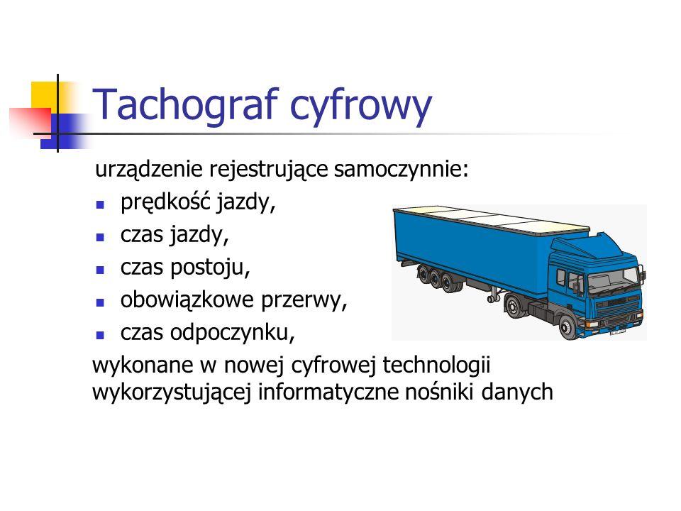 Tachograf cyfrowy urządzenie rejestrujące samoczynnie: prędkość jazdy,
