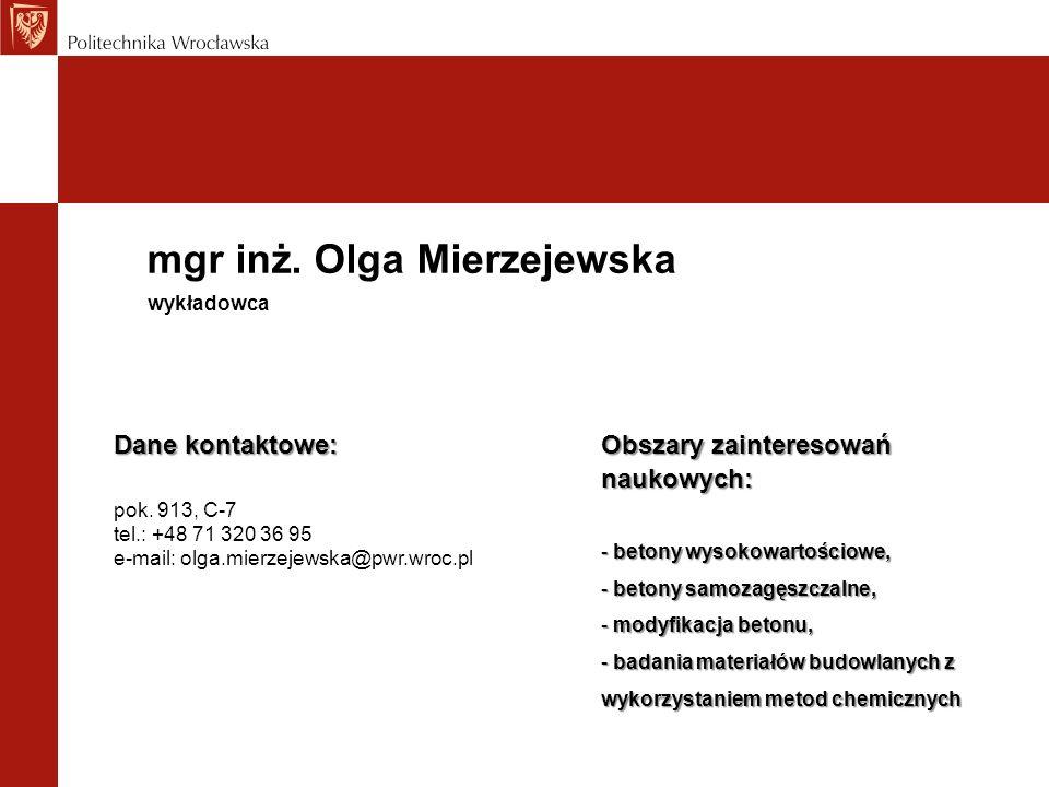 mgr inż. Olga Mierzejewska