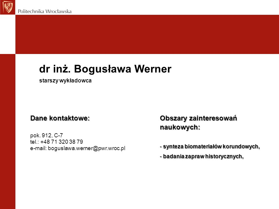 dr inż. Bogusława Werner