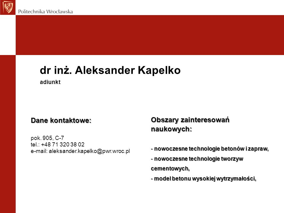 dr inż. Aleksander Kapelko
