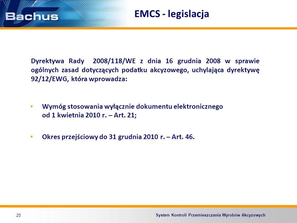 EMCS - legislacja