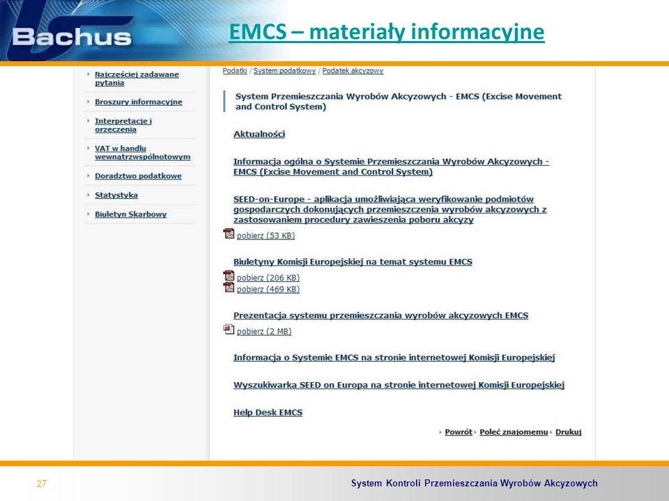 EMCS – materiały informacyjne