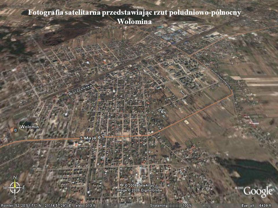 Fotografia satelitarna przedstawiając rzut południowo-północny Wołomina