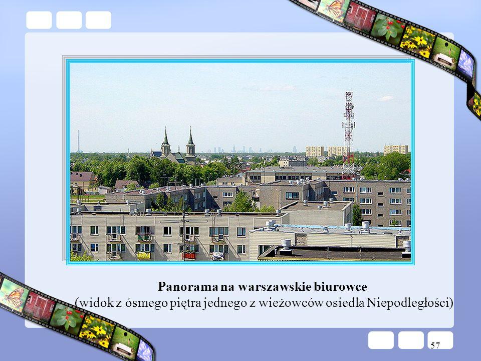 Panorama na warszawskie biurowce (widok z ósmego piętra jednego z wieżowców osiedla Niepodległości)