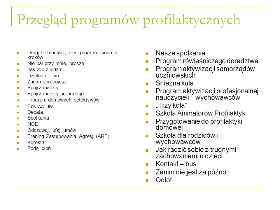 Przegląd programów profilaktycznych