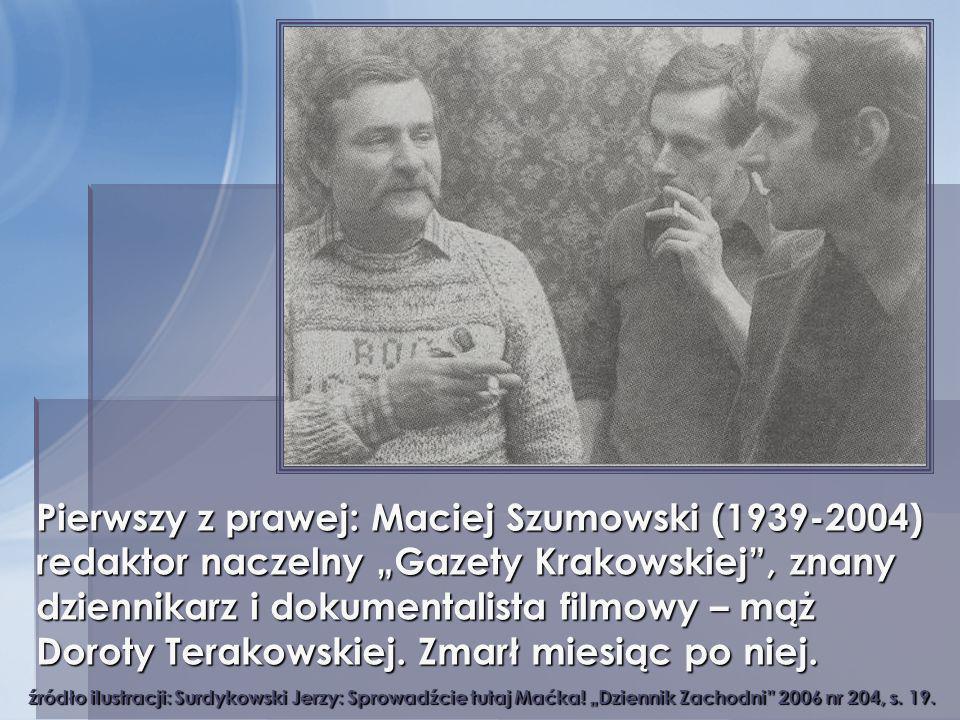 """Pierwszy z prawej: Maciej Szumowski (1939-2004) redaktor naczelny """"Gazety Krakowskiej , znany dziennikarz i dokumentalista filmowy – mąż Doroty Terakowskiej. Zmarł miesiąc po niej."""
