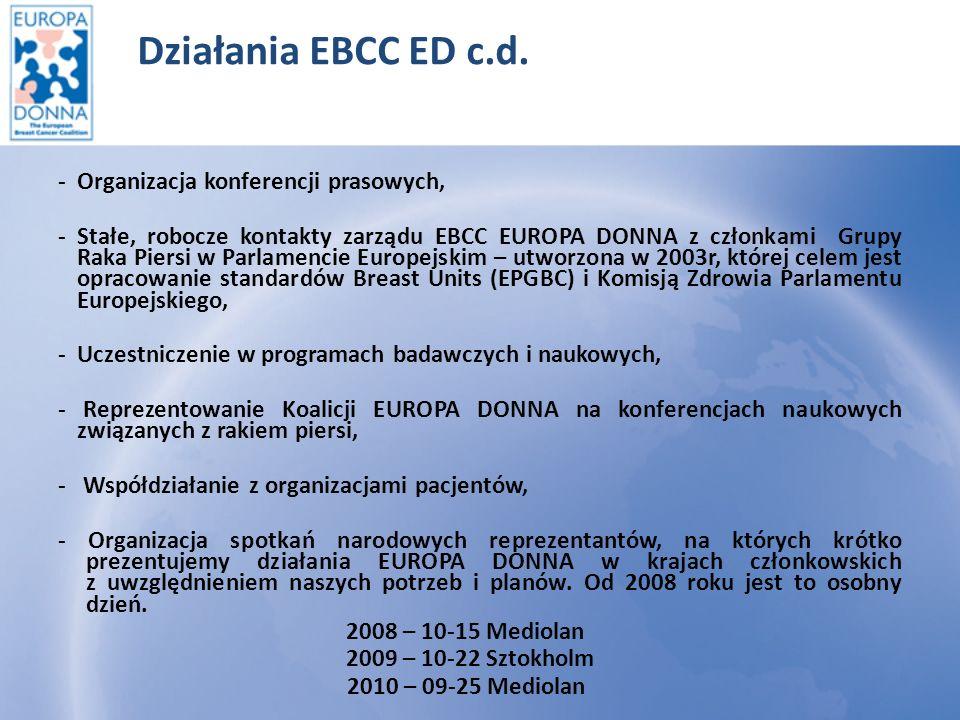 Działania EBCC ED c.d. - Organizacja konferencji prasowych,