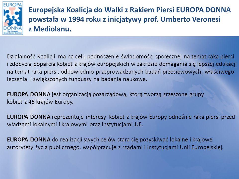 Europejska Koalicja do Walki z Rakiem Piersi EUROPA DONNA powstała w 1994 roku z inicjatywy prof. Umberto Veronesi z Mediolanu.