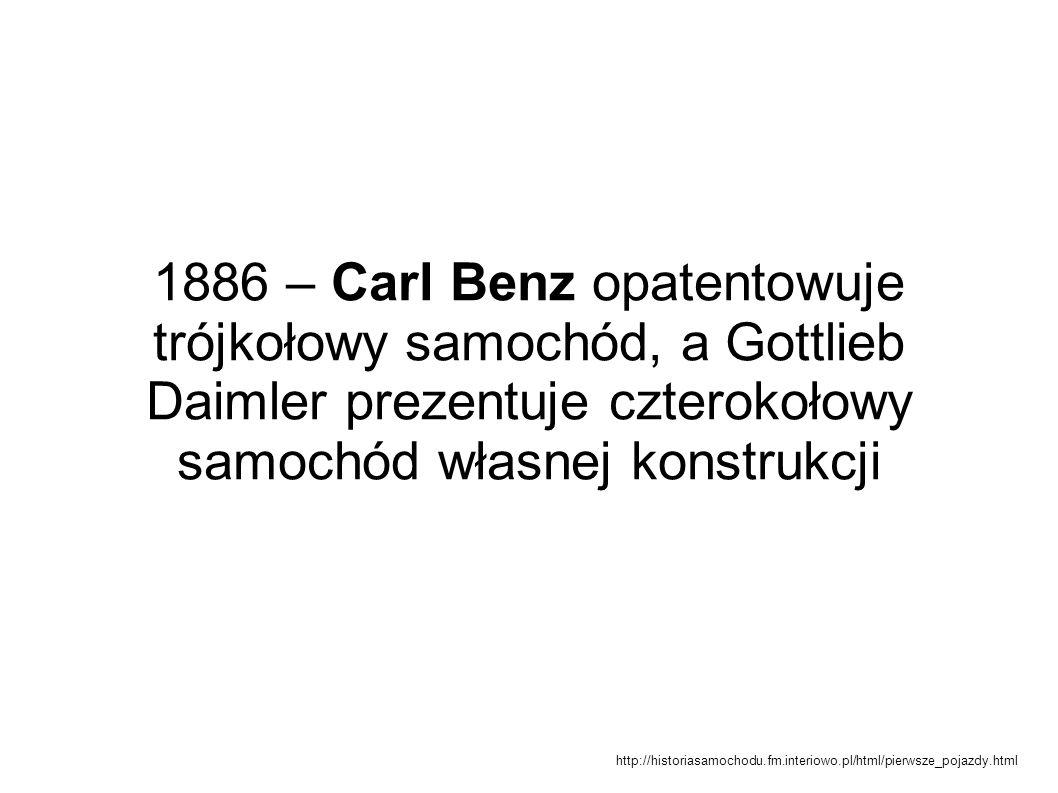 1886 – Carl Benz opatentowuje trójkołowy samochód, a Gottlieb Daimler prezentuje czterokołowy samochód własnej konstrukcji