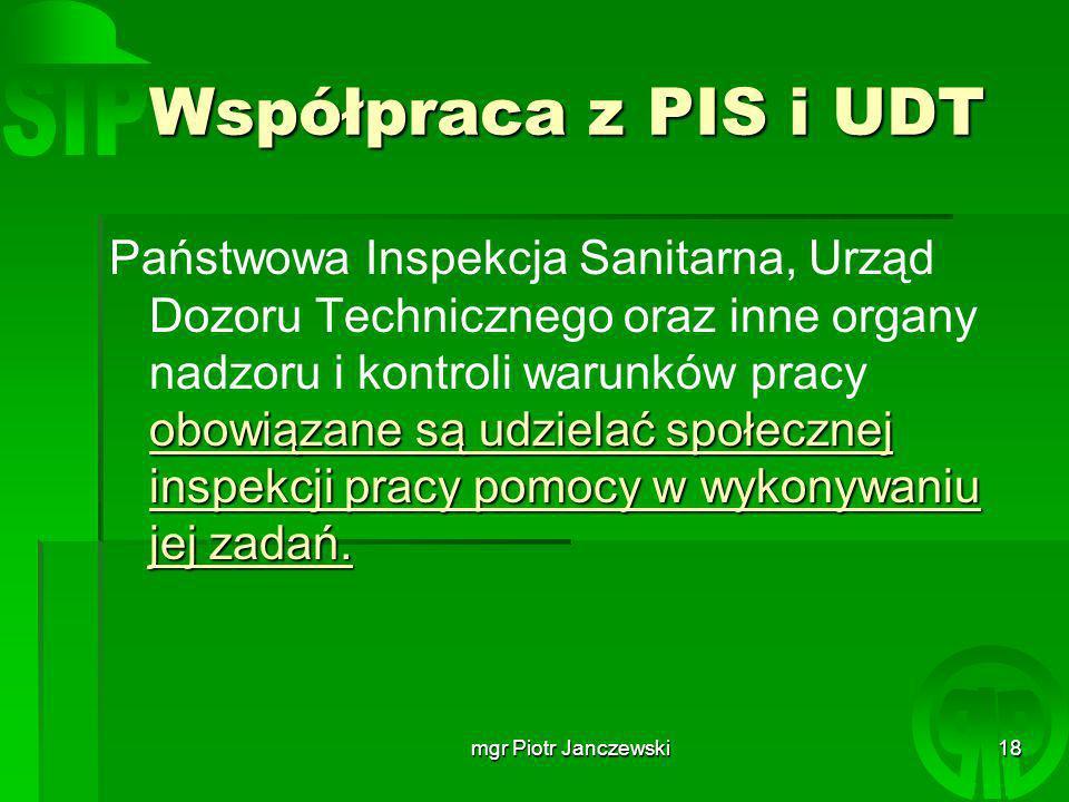 Współpraca z PIS i UDT