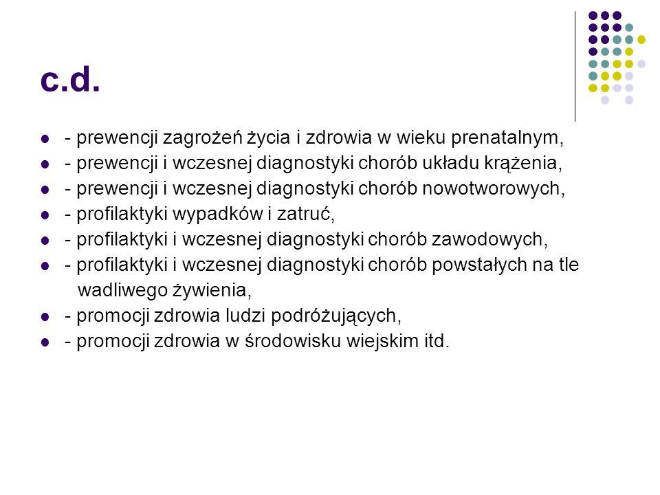 c.d. - prewencji zagrożeń życia i zdrowia w wieku prenatalnym,